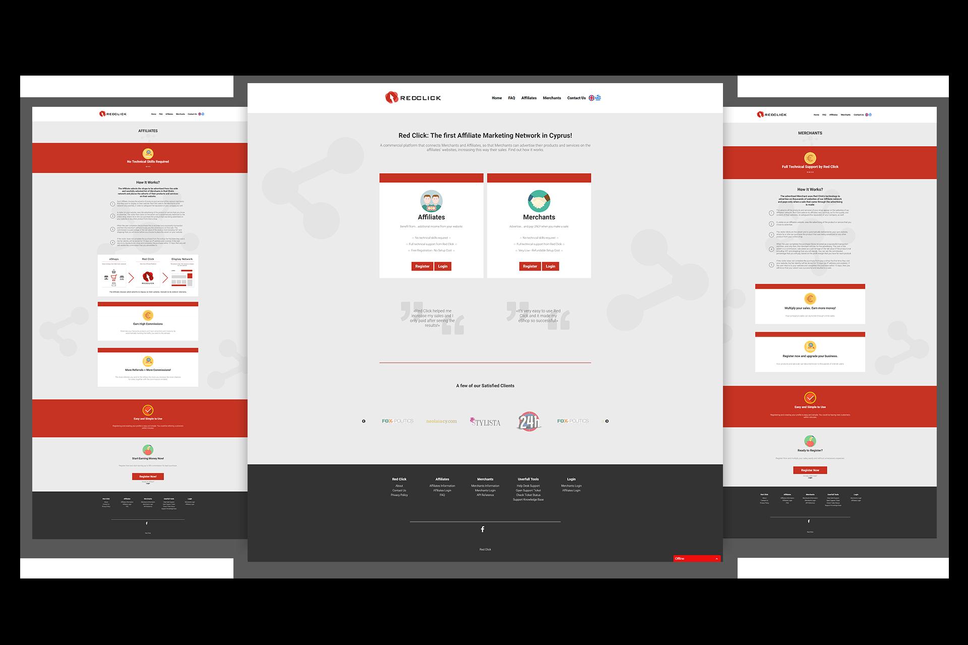 Red Click Affiliate Platform - Screens
